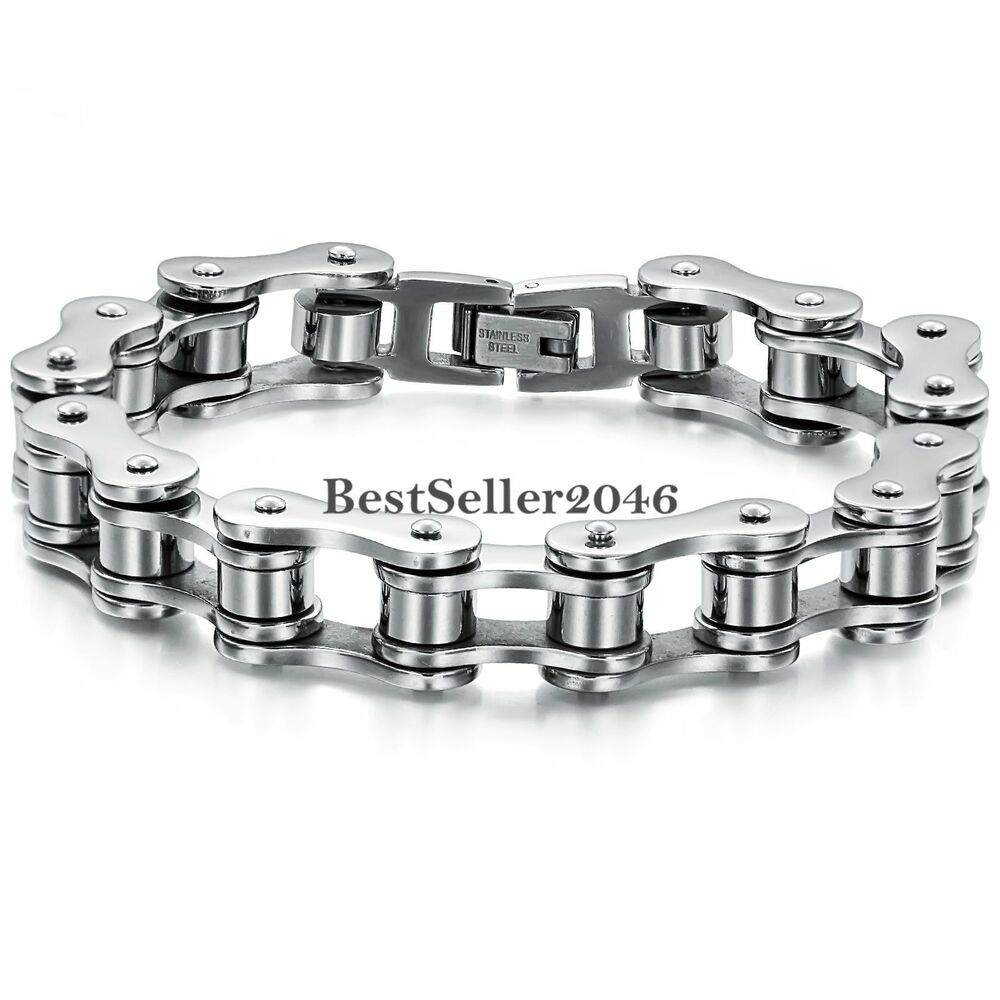 boys mens chain silver stainless steel heavy biker motorcycle bracelet 8 inch ebay. Black Bedroom Furniture Sets. Home Design Ideas
