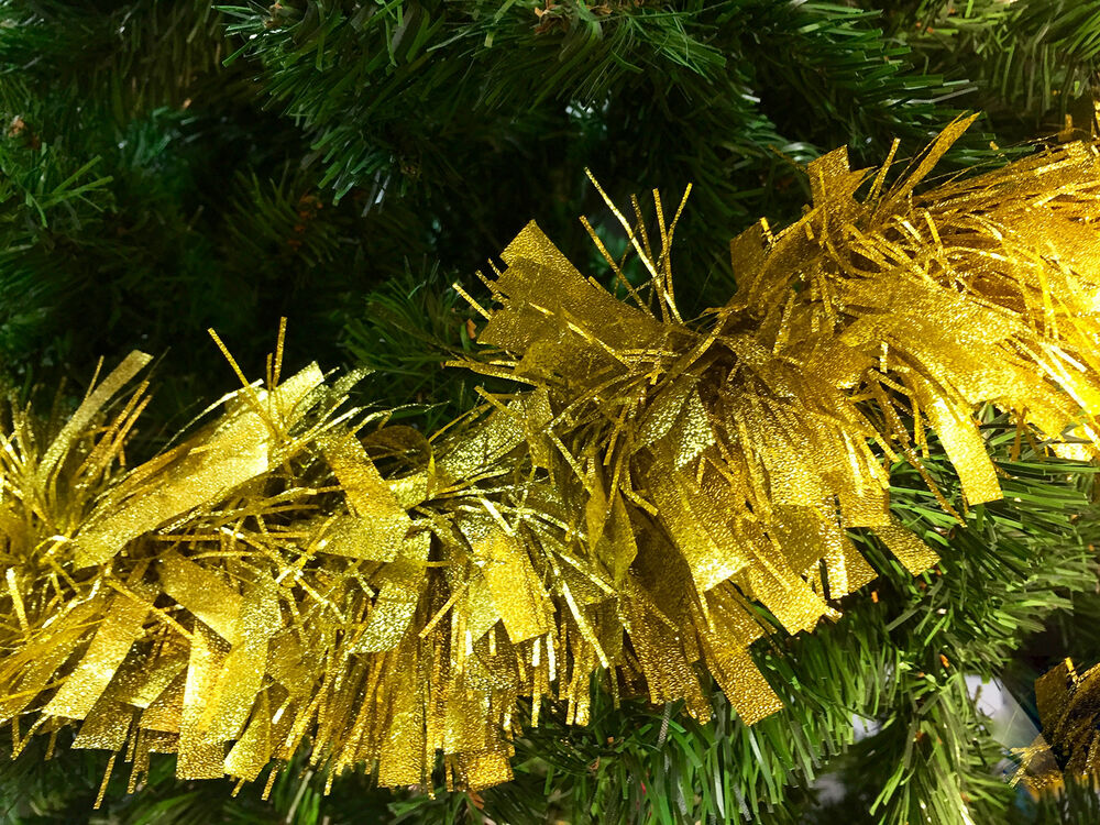 Ft gold tinsel embossed thick thin cut christmas tree