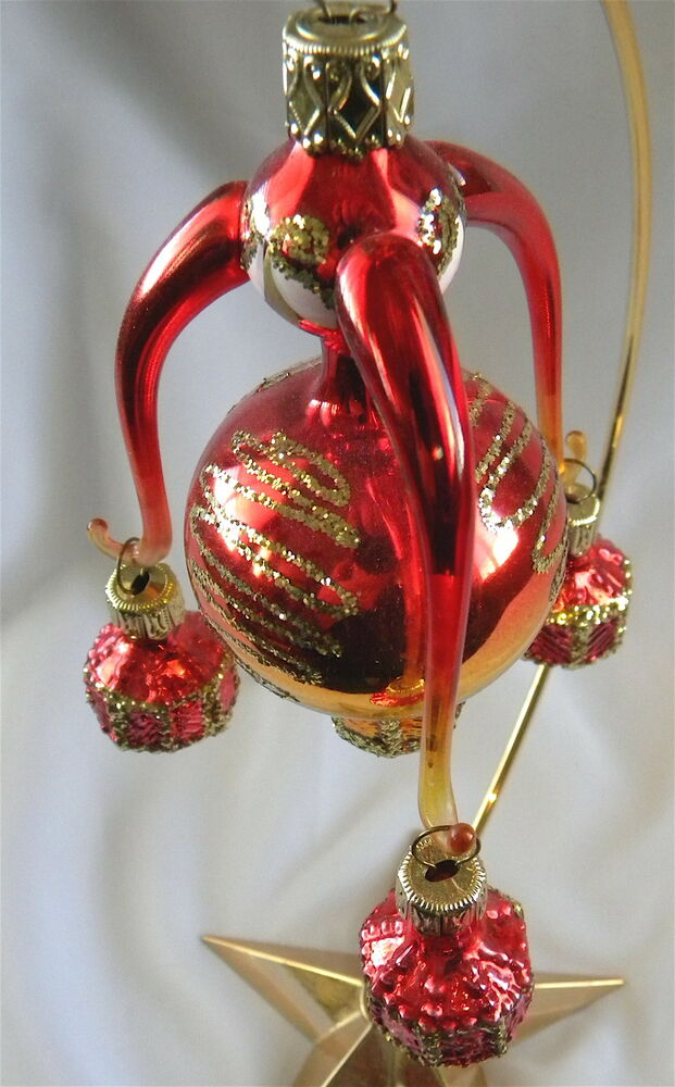 Sale red gold part italian hand blown glass christmas