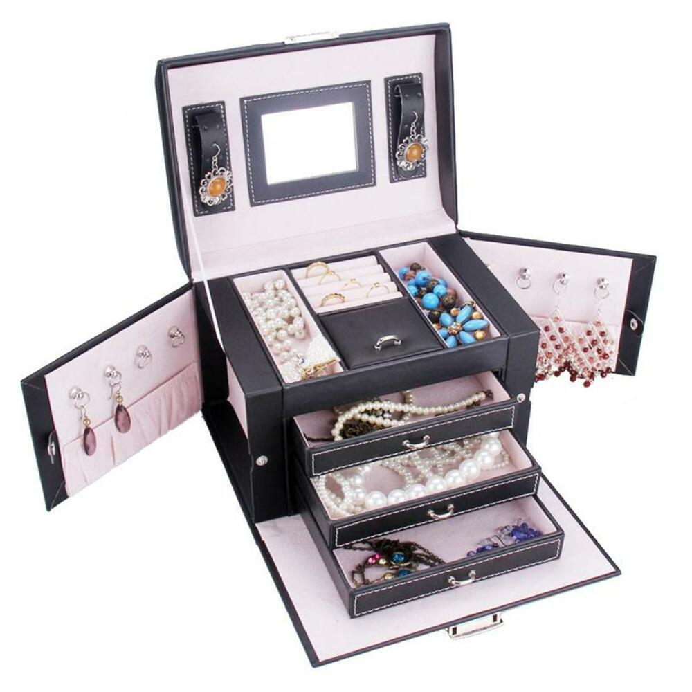 Black white trinkets jewelry organizer box faux leather for Ring case