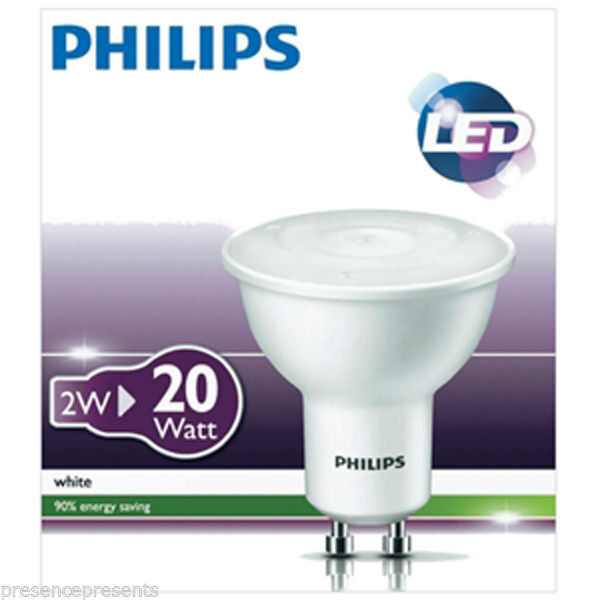 6 x philips low energy 2w led gu10 spot lamp light bulb. Black Bedroom Furniture Sets. Home Design Ideas