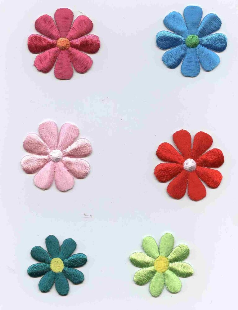 Embroidered iron on applique patch flower daisy large