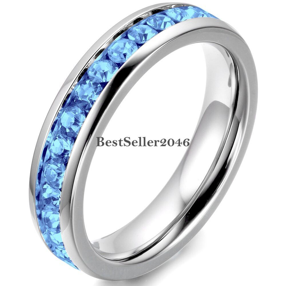 Cubic Zirconia Wedding Bands: Stainless Steel Cubic Zirconia Eternity Mens Womens