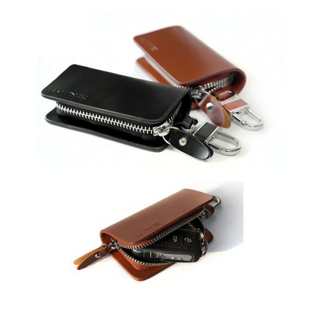 Genuine Cow Leather Car Key Holder Case Bag Ring Small