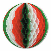 "12"" RED GREEN AND WHITE HONEYCOMB TISSUE BALL HANGING DECOR CHRISTMAS COLOURS"