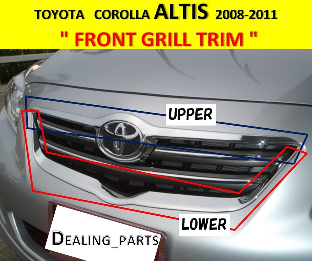 Front Grill Trim Cover Chrome For Toyota Corolla Altis
