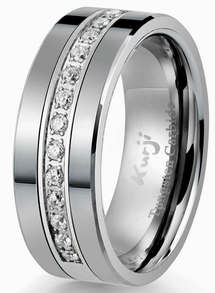 Diamond Tungsten Modern Men 39 S Wedding Ring Band 8mm Anniversary Br