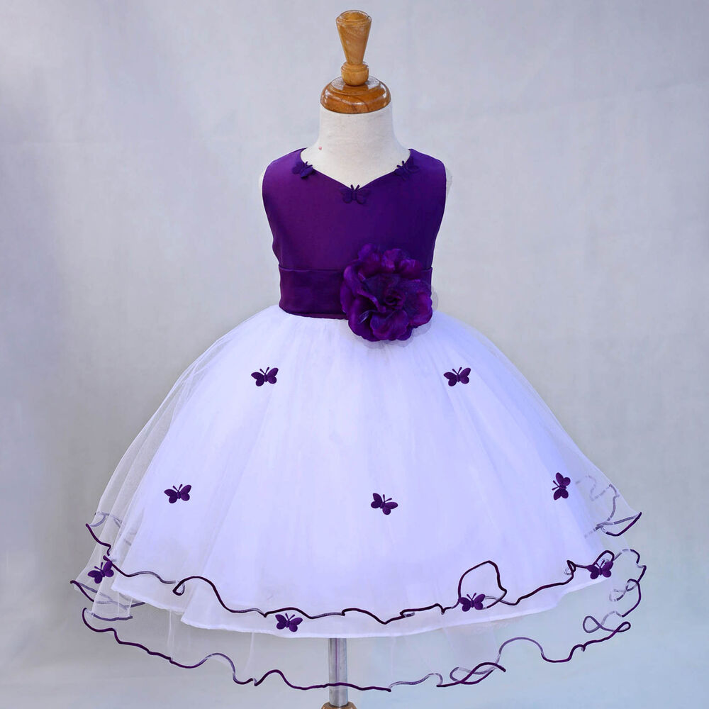 fafa2ce25c5 Details about WHITE PAGEANT BUTTERFLY WEDDING FLOWER GIRL DRESS 6M-18M 2-3T  4 5 5T 6 7 8 9 10