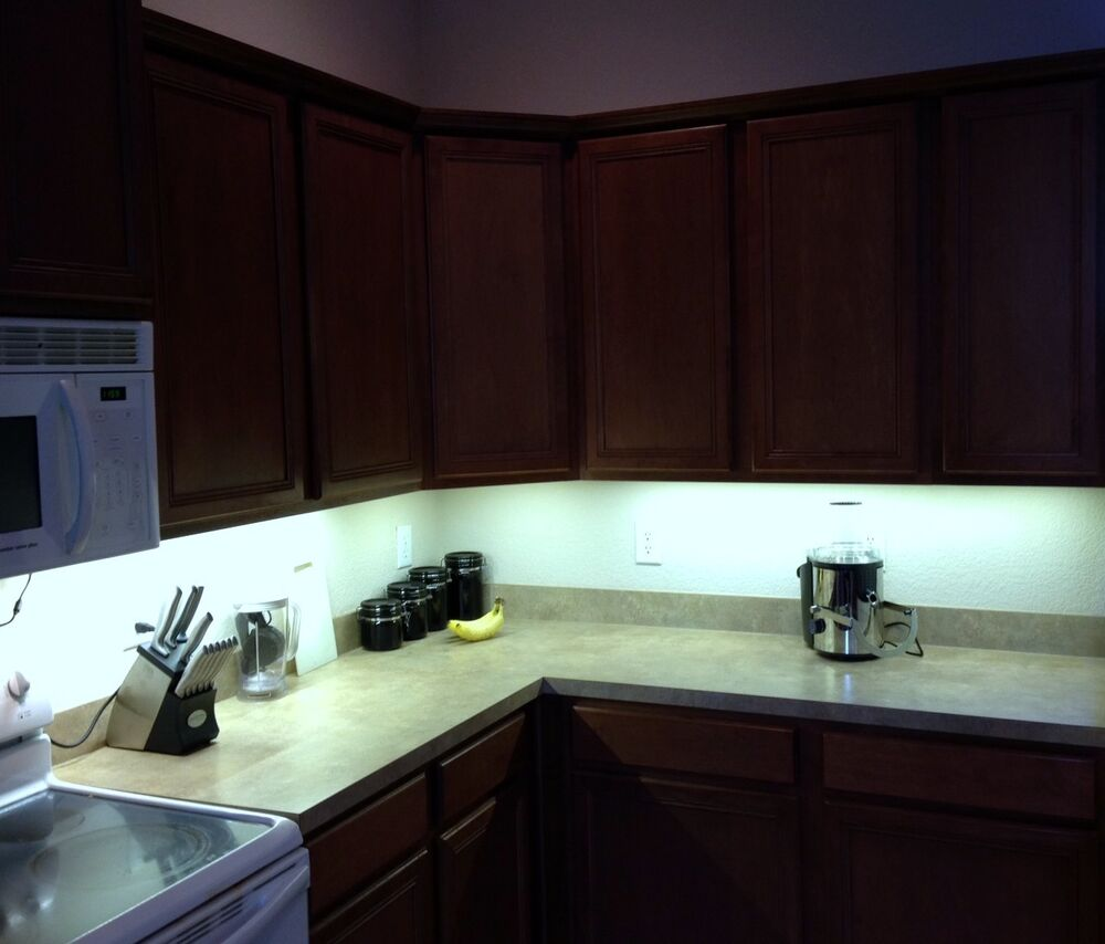 Details about Kitchen Under Cabinet Professional Lighting Kit COOL WHITE LED Strip Tape Light & Kitchen Under Cabinet Professional Lighting Kit COOL WHITE LED Strip ...