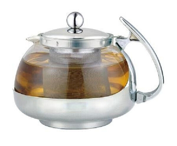 Stainless steel glass tea pot teapot w stainless steel strainer filter 700ml ebay - Tea pots with infuser ...