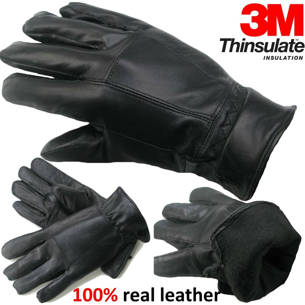 Mens leather gloves thinsulate - Mens Leather Gloves Thinsulate Soft Feel Fully Lined Winter Warm