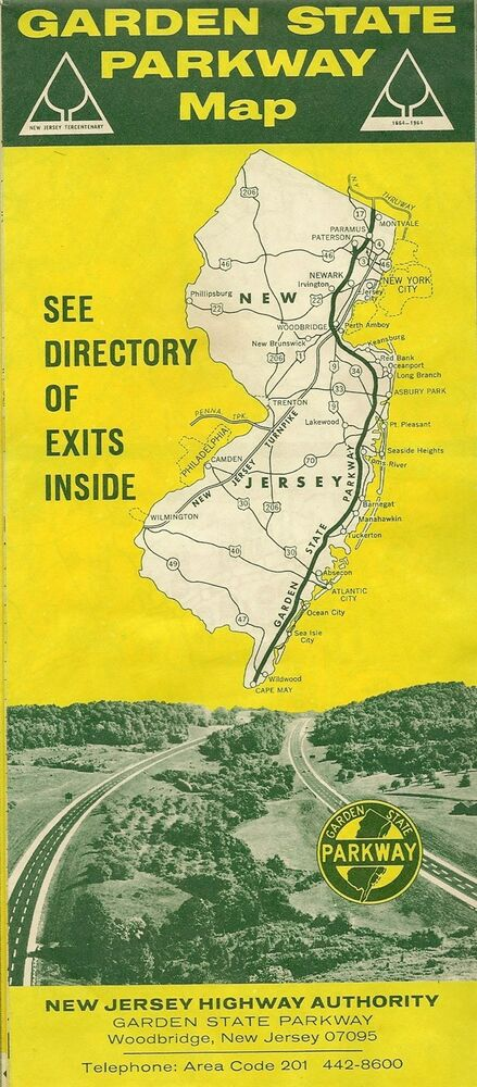 Official 1964 road map garden state parkway new jersey exit directory toll fees ebay for Directions to garden state parkway south
