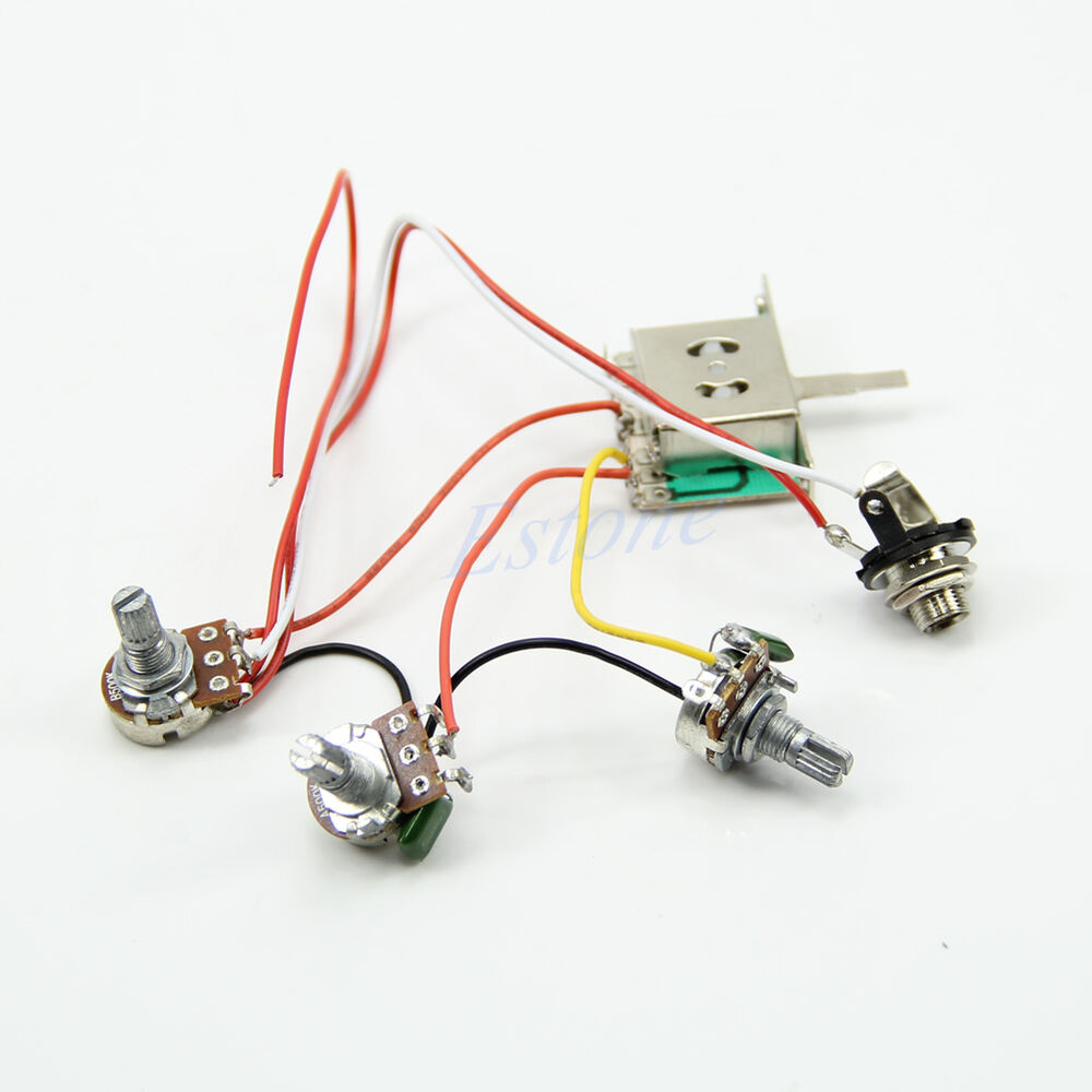 How To Wiring Guitar Pickups : guitar wiring harness pickup 1v2t 5 way switch 500k pots jack for fender strat ebay ~ Hamham.info Haus und Dekorationen