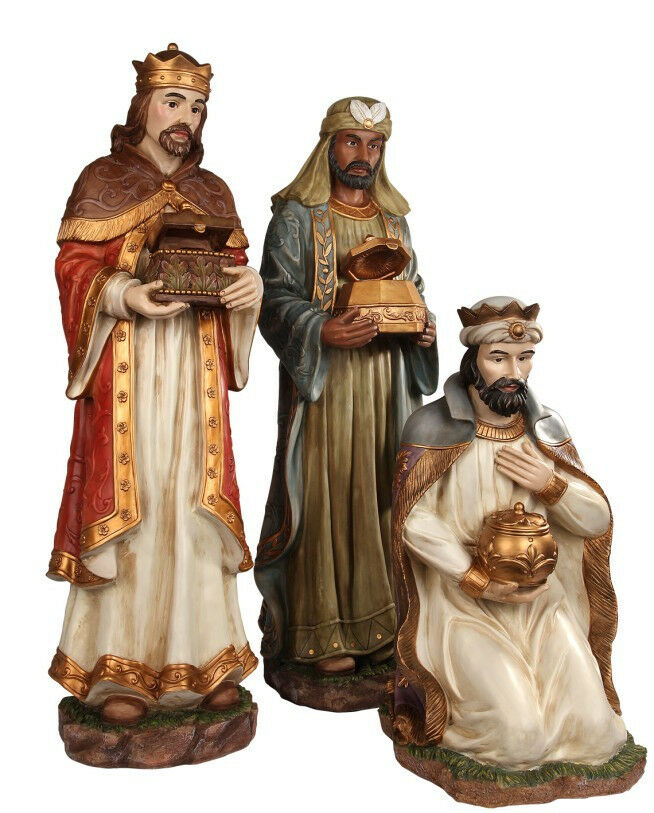 LARGE THREE WISE MAN STATUE COLOR NATIVITY REYES MAGOS ...
