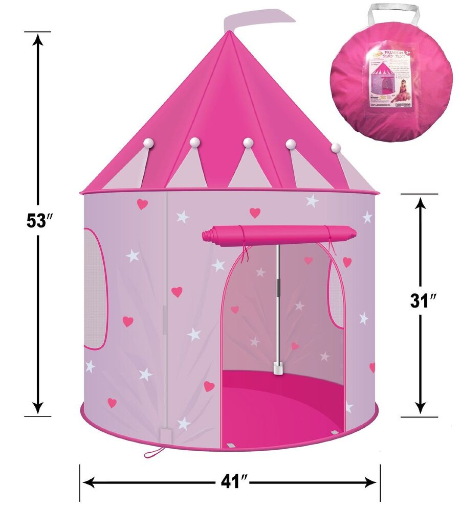 play tent childs pink princess castle kid play house girl fairy house new stars ebay. Black Bedroom Furniture Sets. Home Design Ideas