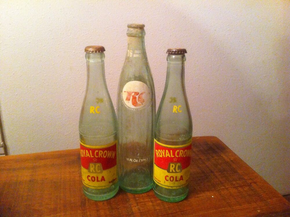 3 Old RC Royal Crown Cola Soda Bottles,two 10 Oz.and One