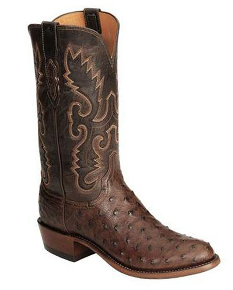 lucchese 1883 mens chocolate burnished fq ostrich cowboy
