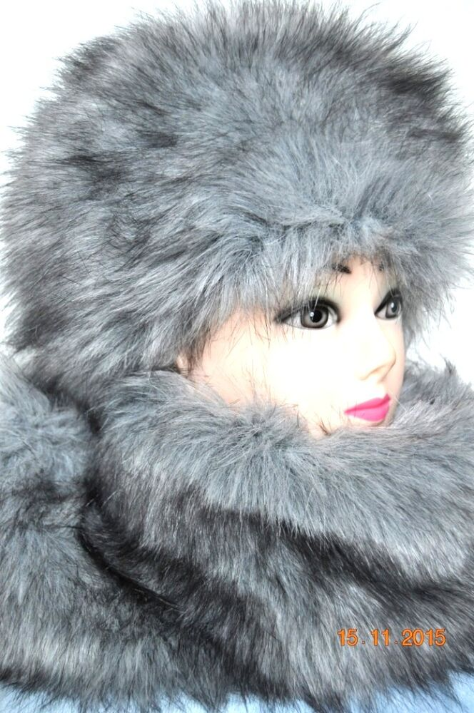 Fur Hat and Scarf Grey Fox fake fur Russian Style Winter