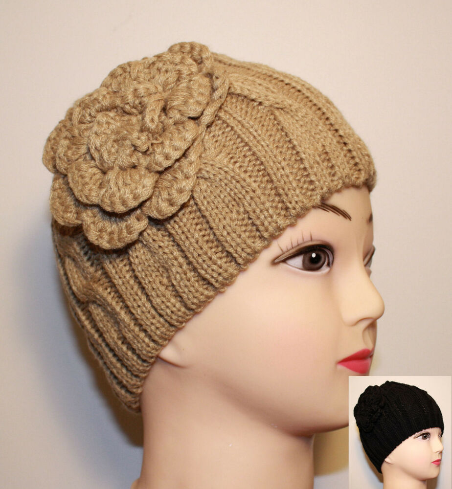 women flower corsage cable knit beanie fitted winter hat. Black Bedroom Furniture Sets. Home Design Ideas