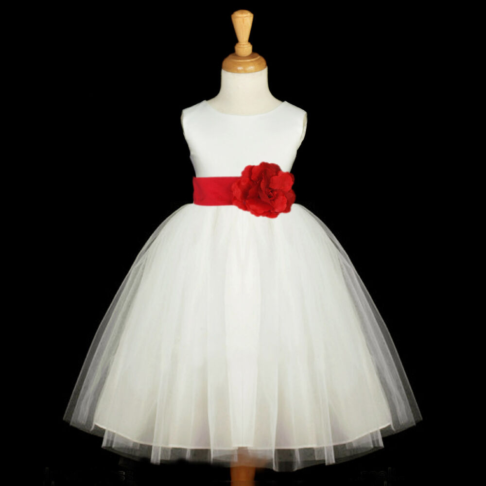 Ivory flower girl dress wedding tulle pageant christmas for 12 month dresses for wedding