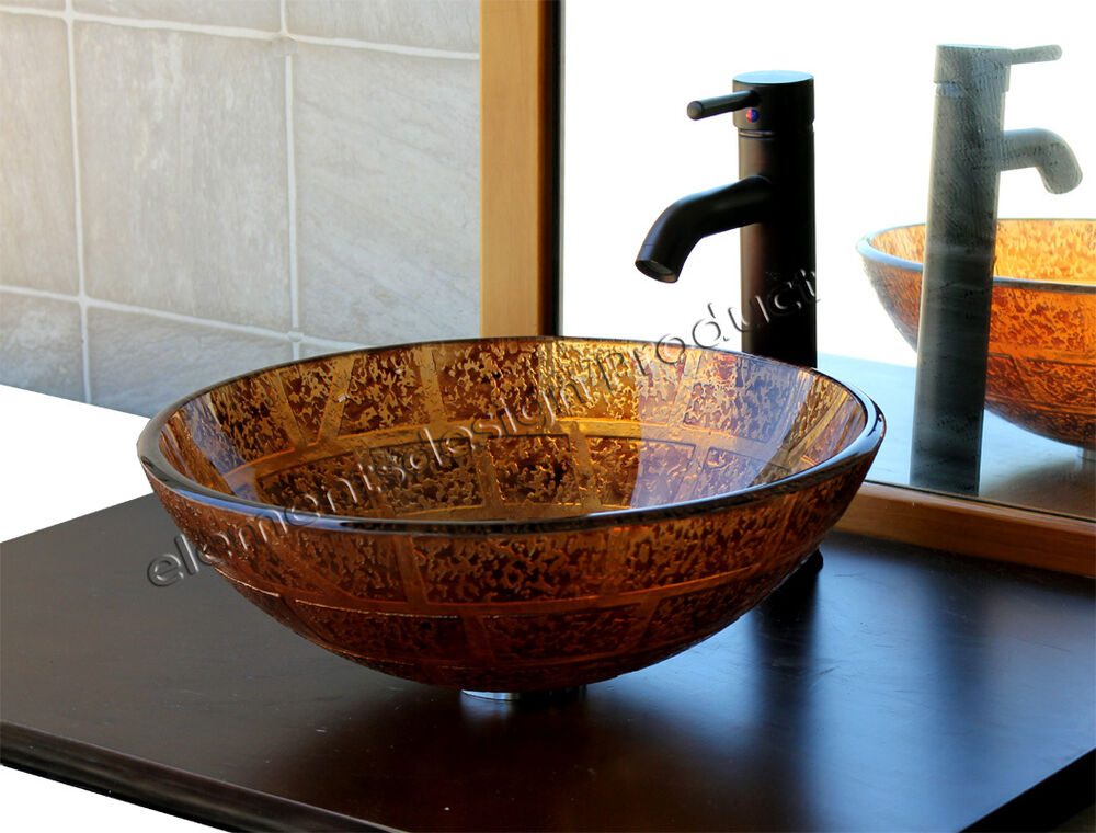 New Oil Rubbed Bronze Bathroom Faucet Vessel Sink Lavatory: Bathroom Artistic Glass Vessel Vanity Sink With Oil Rubbed