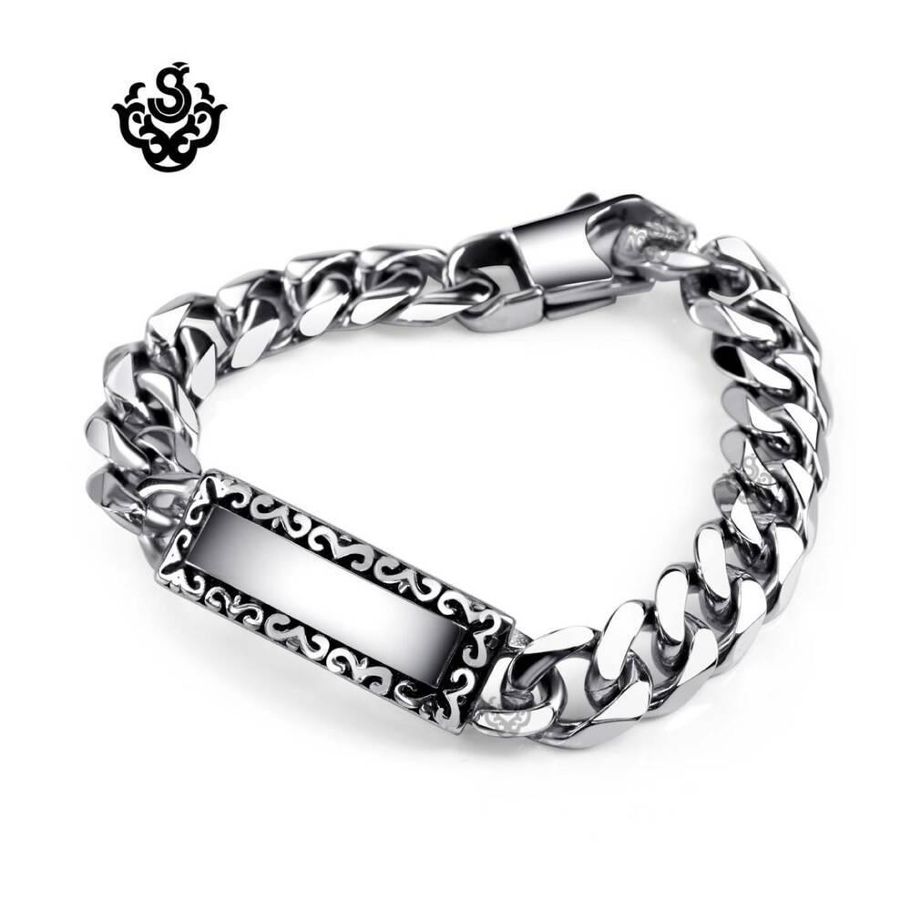 silver bracelet stainless steel mens chain 200mm name tag. Black Bedroom Furniture Sets. Home Design Ideas