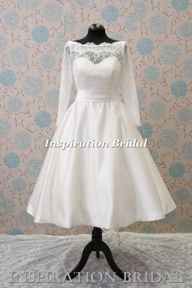 Uk 1345 Retro Short Tea Length Knee Sleeved Lace Wedding