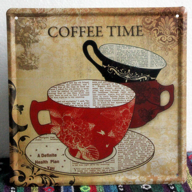 Retro Kitchen Wall Decor: Vintage Coffee Time Metal Sign Home Kitchen Wall Decor Tin Cafe Poster LD468 625678997652
