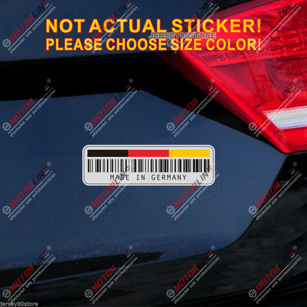 upc bar code made in germany german flag reflective car trunk decal sticker ebay. Black Bedroom Furniture Sets. Home Design Ideas