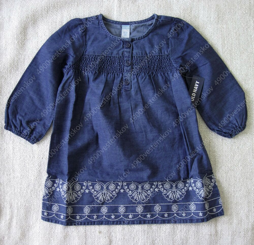 old navy baby girl Blue 3 4 length sleeves Embroidered