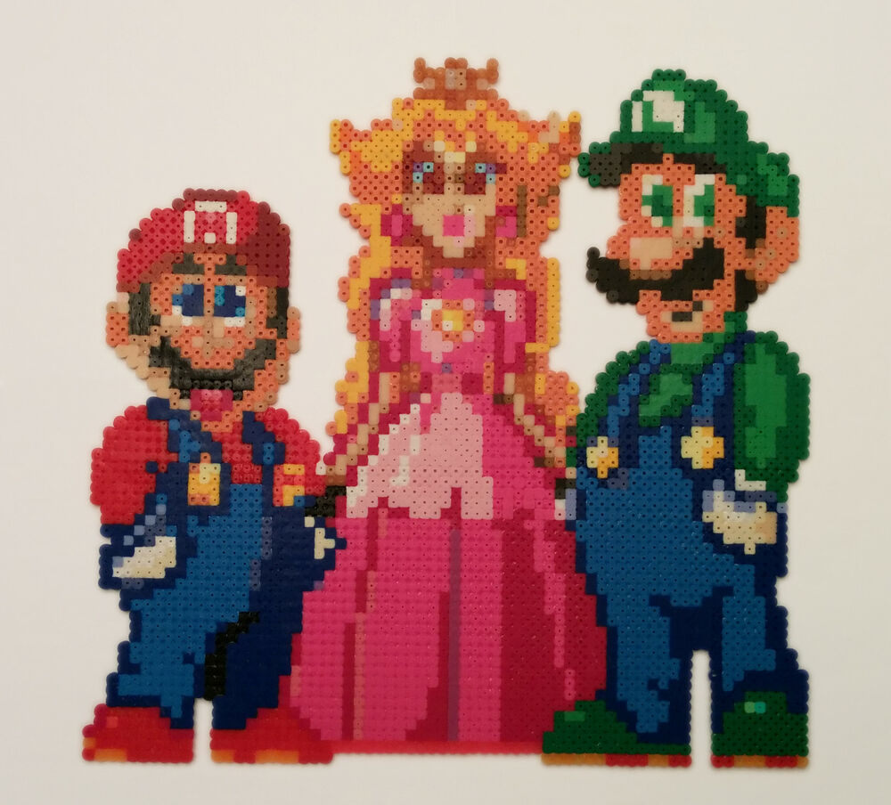 Super Mario World Peach Toadstool Luigi Pixel Art Magnet