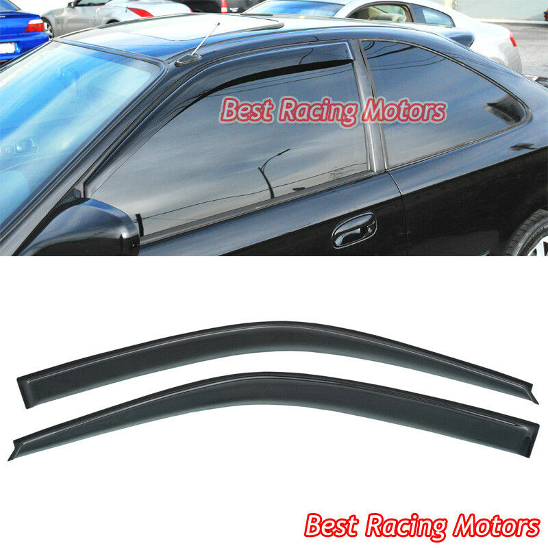 Jdm style side window visors fits 96 00 honda civic 2 3dr for 2000 honda civic rear window visor