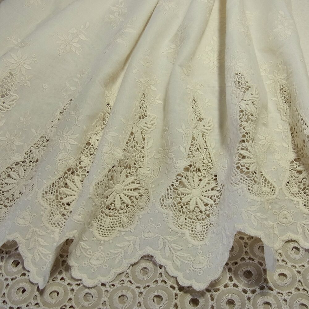 Yd vintage style embroidery cotton eyelet lace fabric