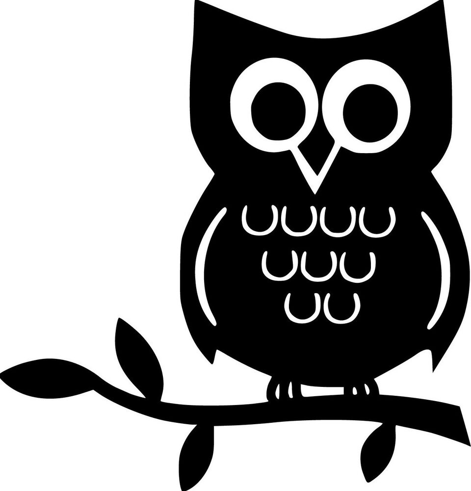 Owl On A Branch Vinyl Wall Decals Children Room Decor