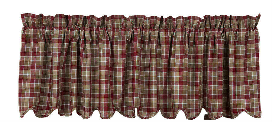 """... Lined Scalloped Rustic Burgundy Red Olive Green Plaid 72"""" 