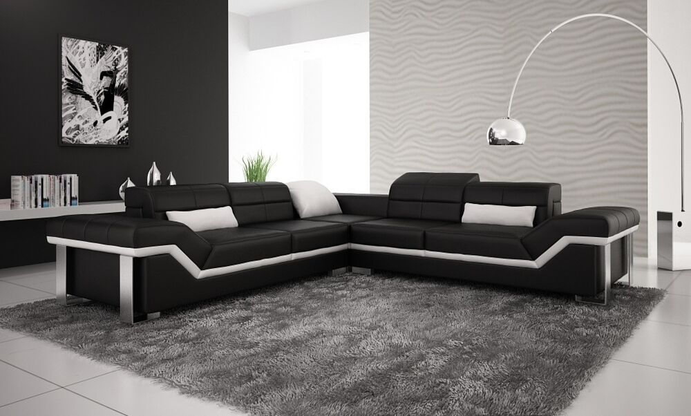 Large leather sofa corner suite new rrp 163 5999 black amp white ebay