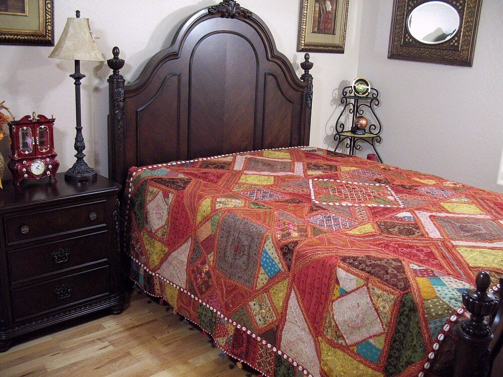 Embroidered India Inspired Bedding Decorative Handmade