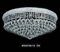 24Large Crystal Gold Chrome Chandelier Flushmount Palace Lighting Free Shipping