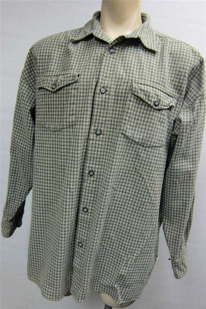 Mens moose creek thick green plaid long sleeve button up for Thick long sleeve shirts