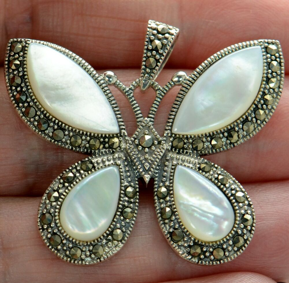 925 Silver Chain >> Solid 925 Sterling Silver Marcasite & Mother of Pearl ...