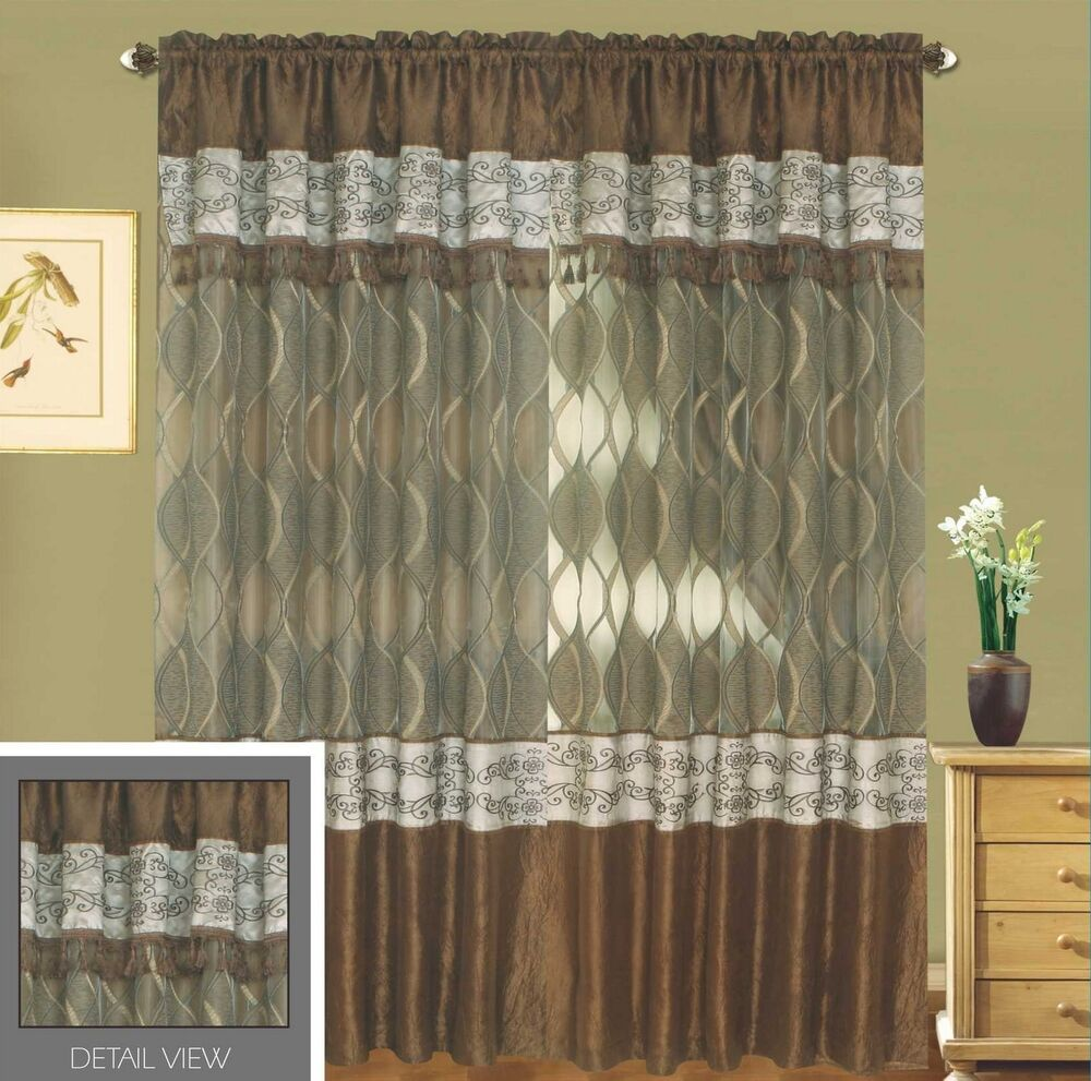 5 Panel Window : Luxury lined curtain set drapes valance window treatment