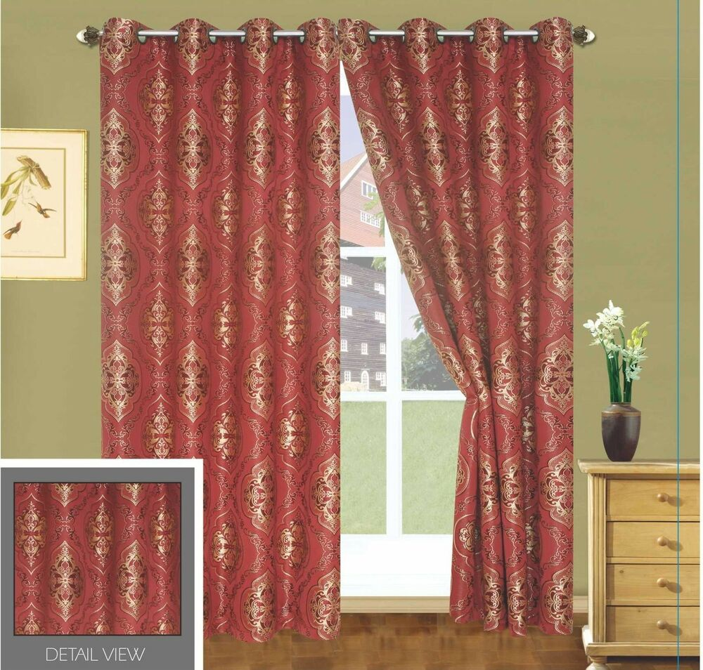 Luxury Lined Curtain Drapes Set Window 2 Panel Grommet