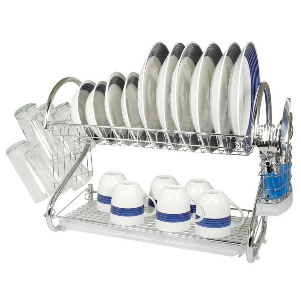 Kitchen Dish Rack Chrome Kitchen Dish Cup Rack Drainer Dryer Tray Cutlery Holder