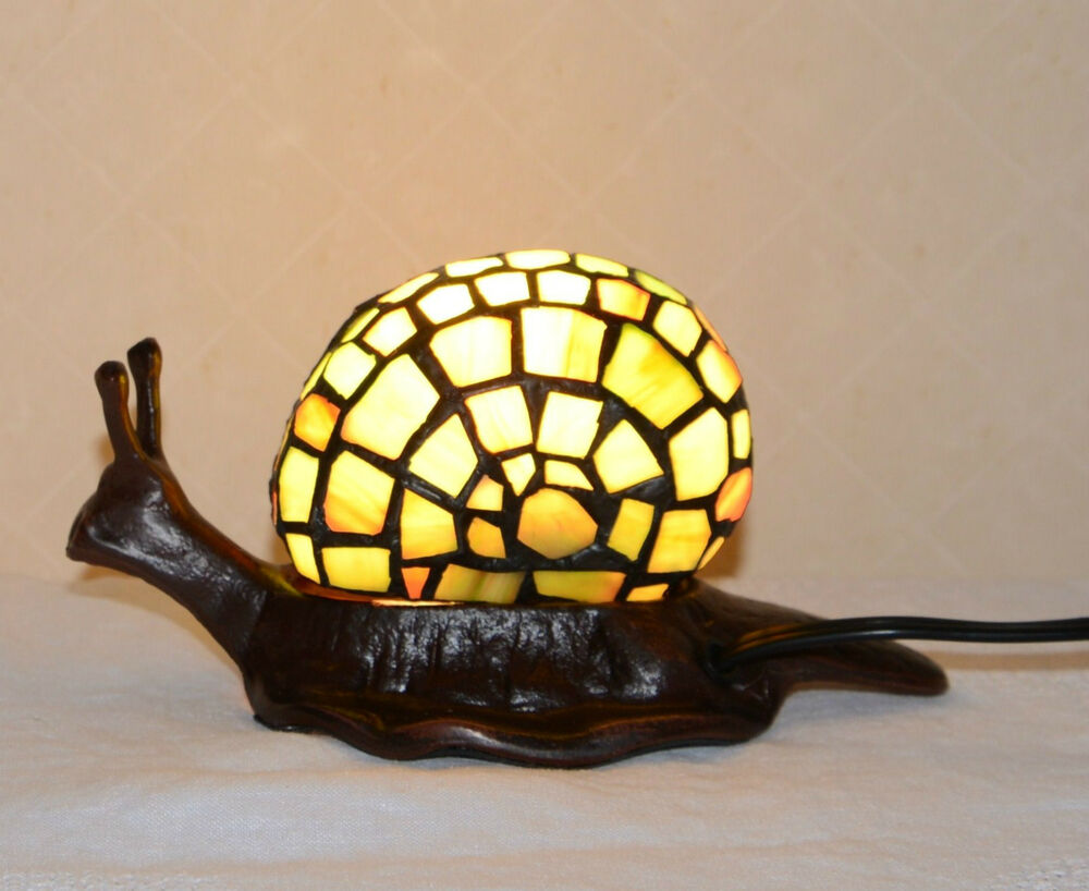 tiffany style snail night light table desk lamp metal base ebay. Black Bedroom Furniture Sets. Home Design Ideas