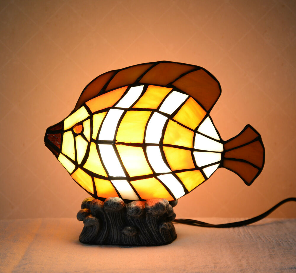 Lite Up Glass Lamps : Stained glass tiffany style fish night light table desk