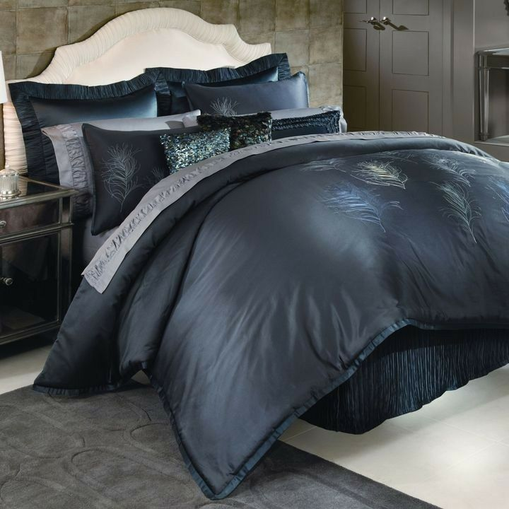 9-Pc Nicole Miller Feathers CAL KING Comforter Set Euro