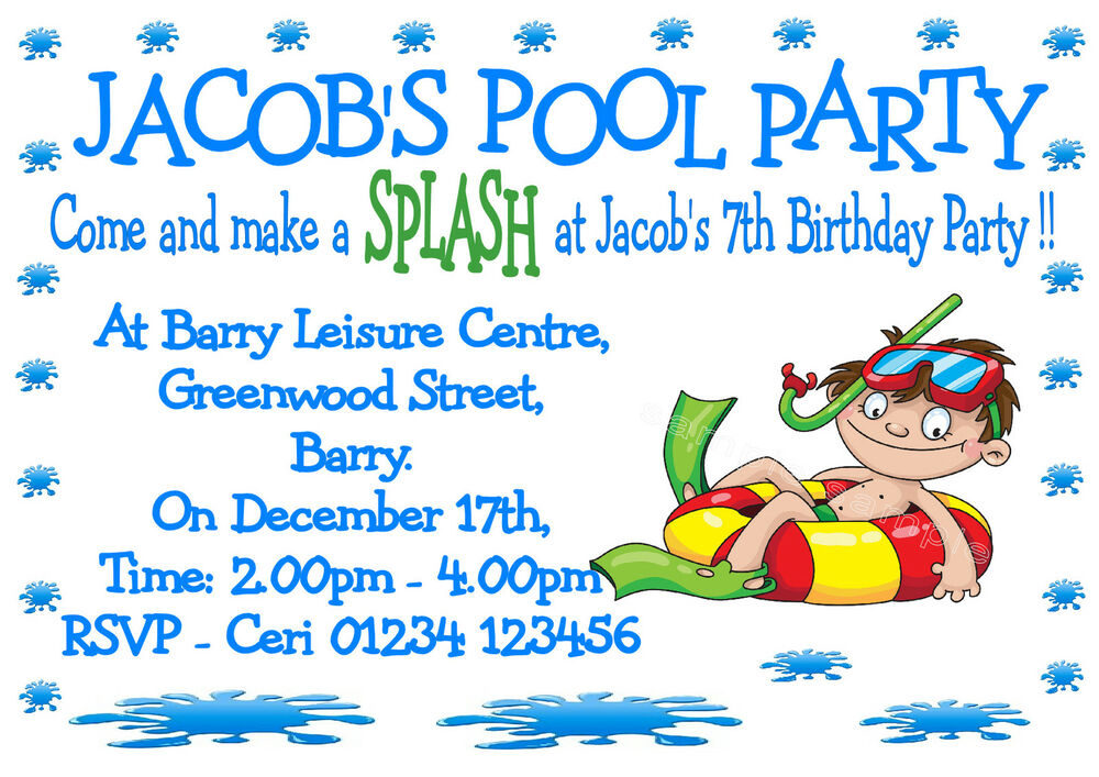 Personalised boys swimming pool party birthday party Swimming pool birthday party invitations