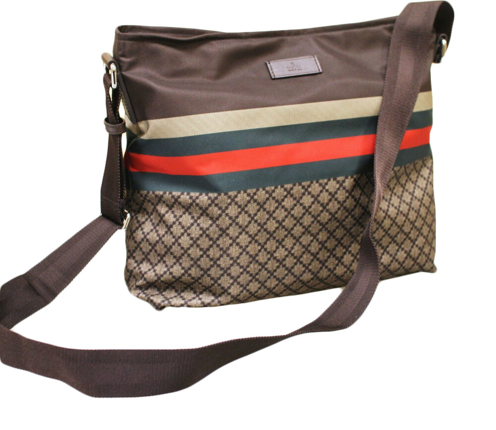 Sling bag on ebay - New Authentic Gucci Diamante Messenger Bag Sling Bag Brown W Grg Web 270410 8636