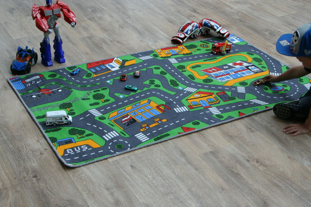 road map rug racing cars children 39 s rugs 94cm x 164cm play mat car village rug ebay. Black Bedroom Furniture Sets. Home Design Ideas
