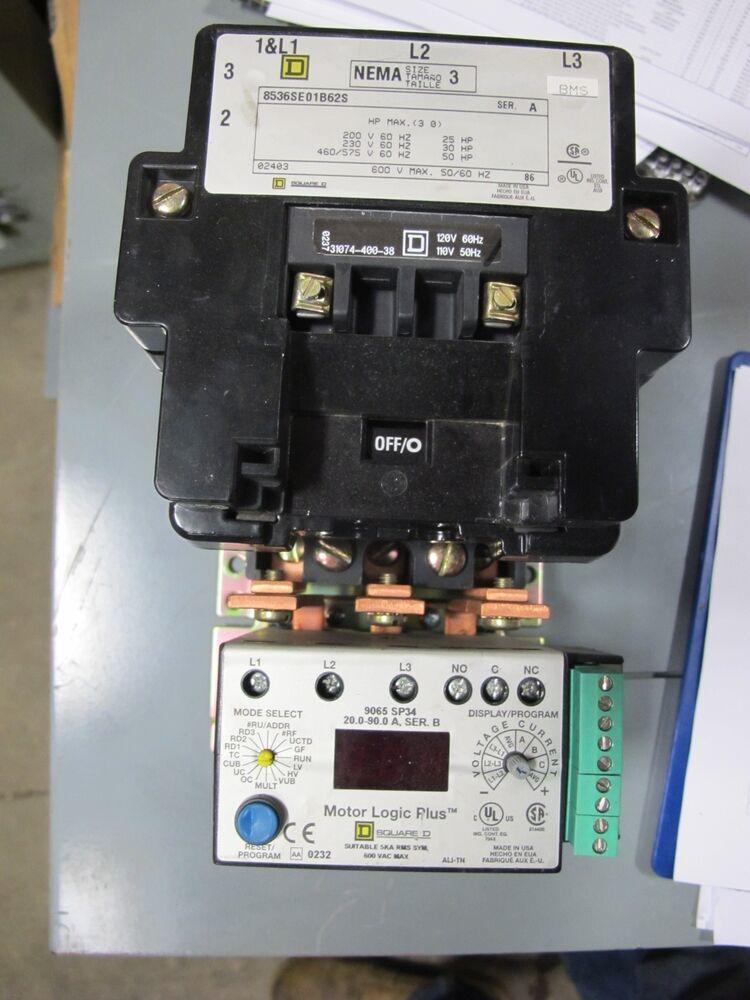 Square d size 3 starter with motor logic plus overload for Sizing motor starters and overloads